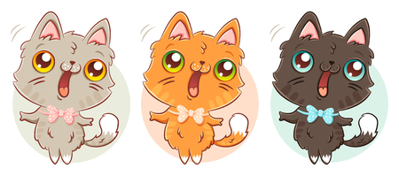 Vector set illustrations of a cute cat in kawaii style. Cute kitty different colors.