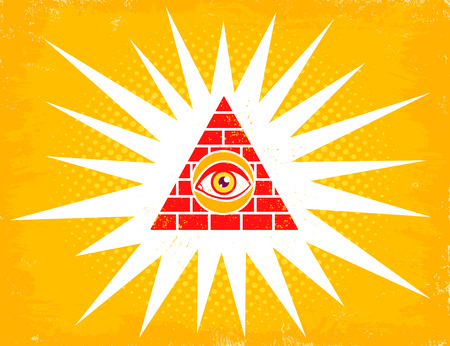 Vector vintage illustration of a pyramid with eye. Pyramid with eye on halftone background.