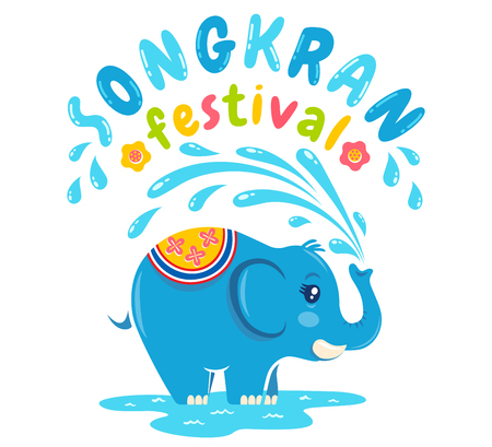 Vector illustration  for Songkran festival in Thailand with elephant and water. Songkran water festival. 向量圖像