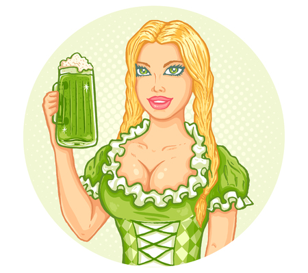 Retro illustration of a girl and beer for Patricks day Vector vintage poster with girl and beer for Patrick party.