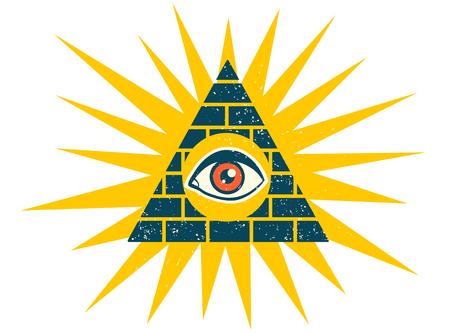 A Vector vintage illustration of a pyramid with eye. Pyramid with eye on vintage style.