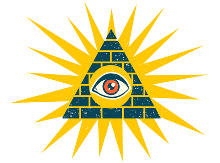 A Vector vintage illustration of a pyramid with eye. Pyramid with eye on vintage style.