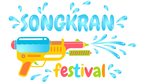 A Vector logo gun for Songkran festival in Thailand. Logo for water festival with gun and water drops. Illustration