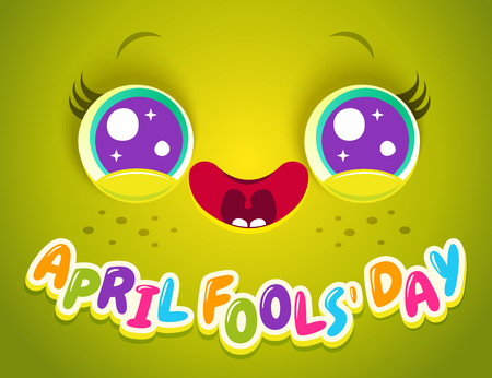 Vector illustration of cute face for April fools day. Cute face with eyes and freckles. April fools day.