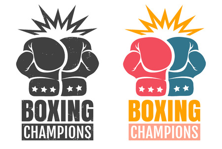 Vector set vintage icon for a boxing with two gloves. Vintage icon for boxing.