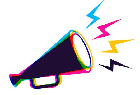 CMYKカラーのレトロなメガホンを持つベクターヴィンテージポスター。CMYKスタイルのベクトルメガホン。 写真素材 - 97837943