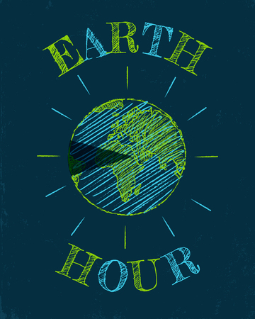 Vector vintage poster for a Earth hour. March Earth hour day. Illustration
