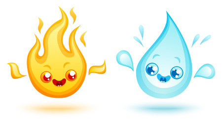 Vector set icons two elements in kawaii style. Nature elements in manga style. Fire and water.