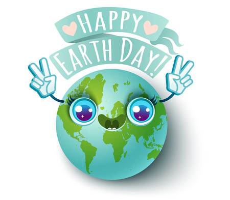 Vector illustration of a planet Earth. Planet Earth with Peace symbol. Happy Earth day! Illustration