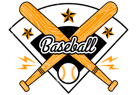 Vector sport logo for baseball with bats and ball. Vintage vector emblem for baseball.