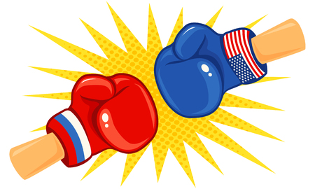 Vector vintage logo for a boxing with gloves with two flags. Vintage emblem with flags Russia and USA.