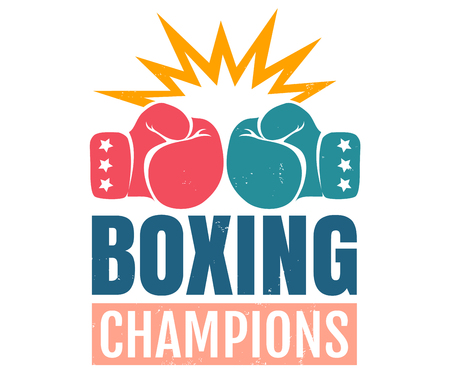 Vector vintage icon for a boxing with gloves