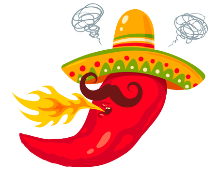 Illustration of a spicy chili pepper, wearing sombrero with flame for Mexican food.