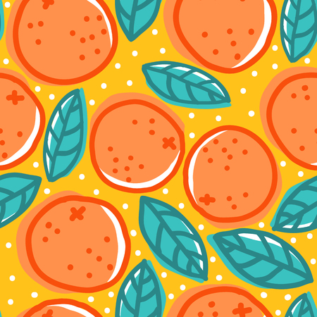 Vintage seamless pattern with oranges and leaves.