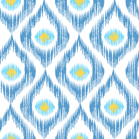 Vintage vector seamless pattern in ikat style. Retro ikat blue pattern. Çizim