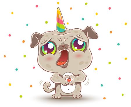 Vector illustration of a cute pug like unicorn. Pug with unicorn horn in kawaii style. Stock Illustratie