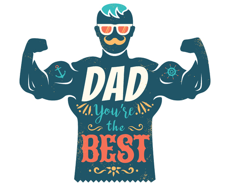 Vector vintage greeting card for father day with best dad. Happy father's day.