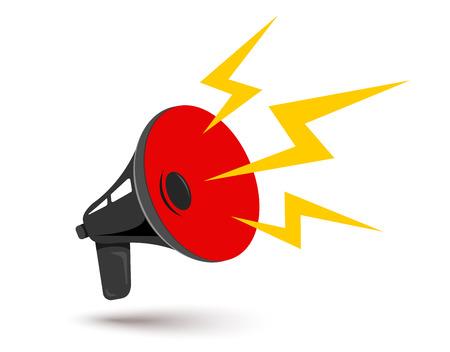 Vector icon of vintage black megaphone. Vector retro megaphone. Ilustração