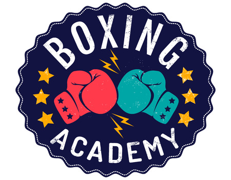 Vector vintage emblem for a boxing with two gloves. Vintage logo for boxing academy.