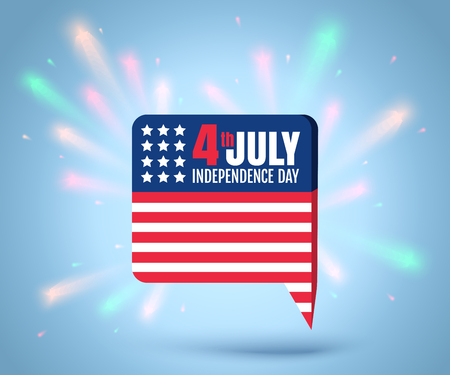 Vector icon with american flag for independence day at 4 th july. Independence day at 4 th july. Illustration
