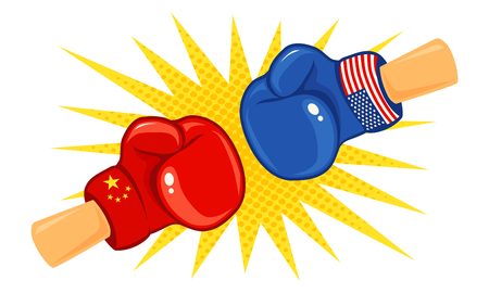 Vector vintage logo for a boxing with gloves with two flags. Vintage emblem of two boxing gloves with flags China and USA. Logo