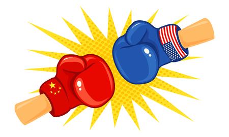 Vektor Vintage Logo für eine Box mit Handschuhen mit zwei Flaggen. Weinleseemblem von zwei Boxhandschuhen mit Flaggen China und USA. Logo