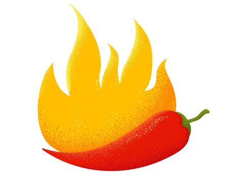 Vintage emblem of a chili pepper in fire. Illustration of a red chili pepper with flame.