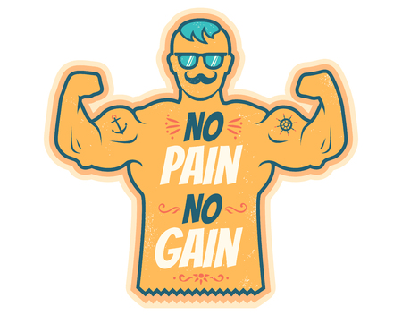Vintage vector illustration of a bodybuilder with lettering. No pain no gain.