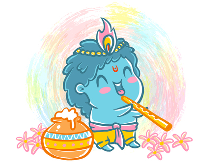 Vector illustration  style for Krishna Janmashtami. Little Krishna Vettoriali