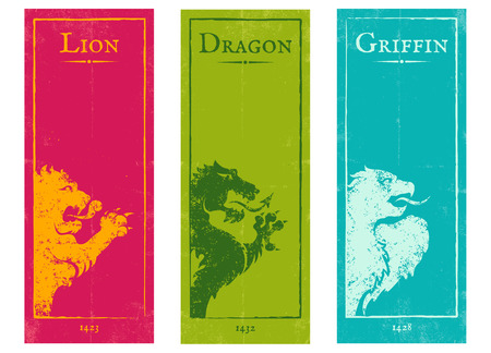 Vector set vintage posters with lion, griffin and dragon Illustration