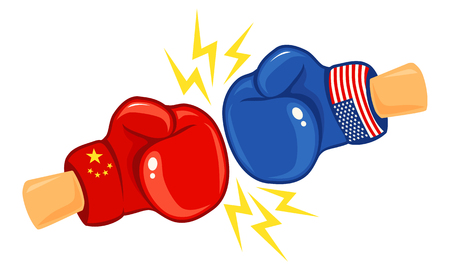 Vector vintage  for a boxing with gloves with two flags. Vintage emblem of two boxing gloves with flags China and USA.