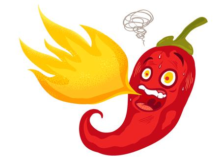 Ilustración de vector de un pimiento picante con llama. Chile rojo de dibujos animados para mexicano. o comida tailandesa. Ilustración de vector