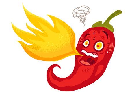 Vector illustration of a spicy chilli pepper with flame. Cartoon red chilli for mexican. or thai food. Ilustração Vetorial