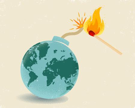 Affiche vintage de vecteur d'une bombe avec carte du monde et match en feu. Terre comme une bombe avec mathch en feu.