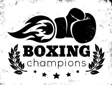 Vector retro pour une boxe avec gant. Emblème rétro pour la boxe avec gant et lauriers.