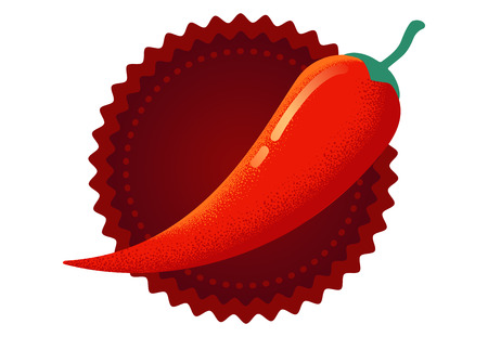 Vector chilli pepper in retro style. Vector vintage emblem with red chili pepper.