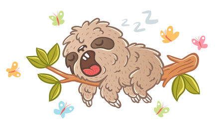 Vector illustration of a sleep sloth on branch with green leaves. Sloth and butterflyes.