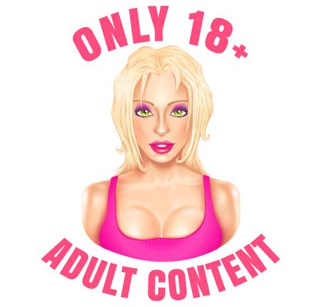 Banner de web de vector para contenido para adultos. Emblema de vector con hermosa chica rubia solo para adultos.