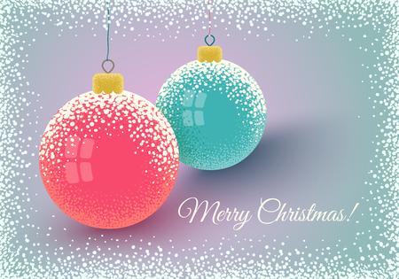 Vector vintage postcard with Christmas balls and snow. Retro Christmas card with balls on snow.