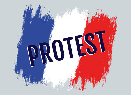 Vector illustration of French flag and text protest. Protest in the France. 向量圖像