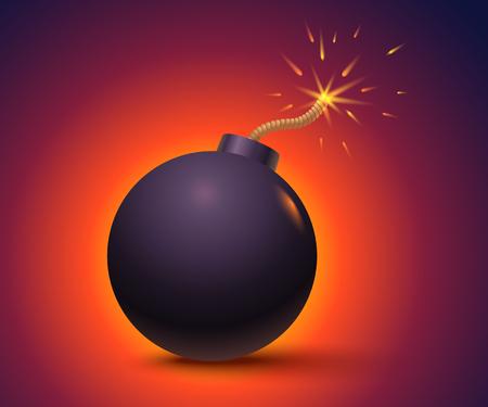 Ilustración de vector de una bomba con chispas. Bomba negra sobre fondo naranja. Ilustración de vector