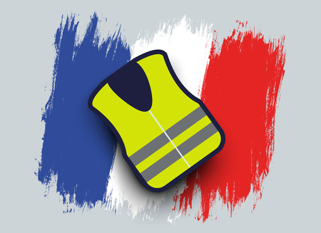 Vector illustration of a yellow jacket on French flag. Protest in the France. 向量圖像