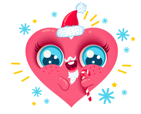 Vector illustration of a heart with Santa beard andcandy cane for Christmas. Merry Christmas and Happy New Year!