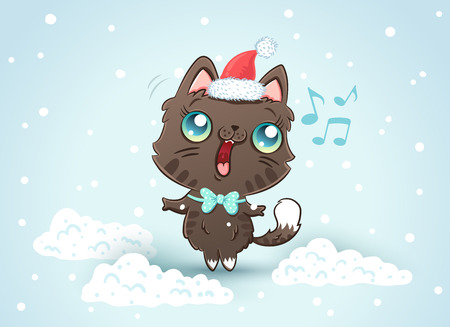 Vector illustration of a cute cat in Christmas hat. Kitty on snow in kawaii style