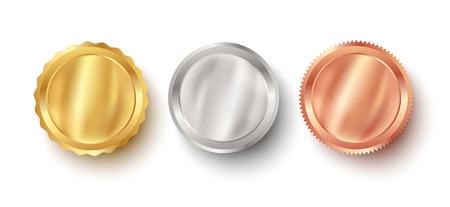 Vektorset goldene, bronzene und silberne Web-Luxus-Award-Banner. Premium-Web-Metallic-Banner. Vektorgrafik