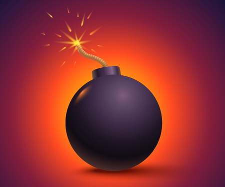 Vector illustration of a bomb with sparks. Black bomb on orange background.