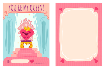 Cute vector greeting card for Valentine's day with heart on throne. Cute heart with crown for Valentine's day. Stock Illustratie