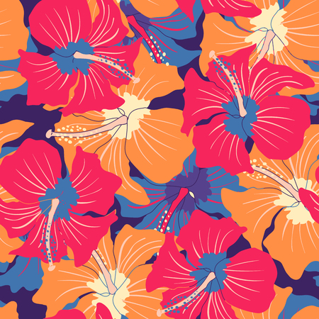 Vector vintage seamless pattern with colorful hibiscuses. Retro floral pattern with hibiscus