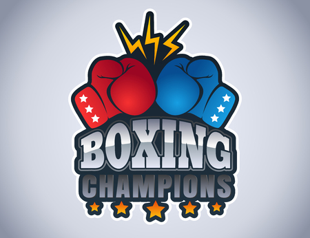 Vector vintage emblem for a boxing with gloves. Sport logo for boxing