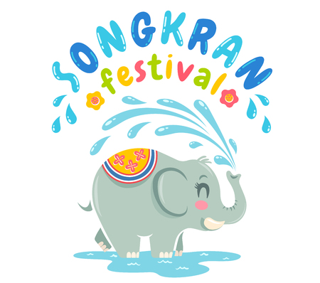 Vector logo for Songkran festival in Thailand with elephant and water. Emblem for Songkran water festival.